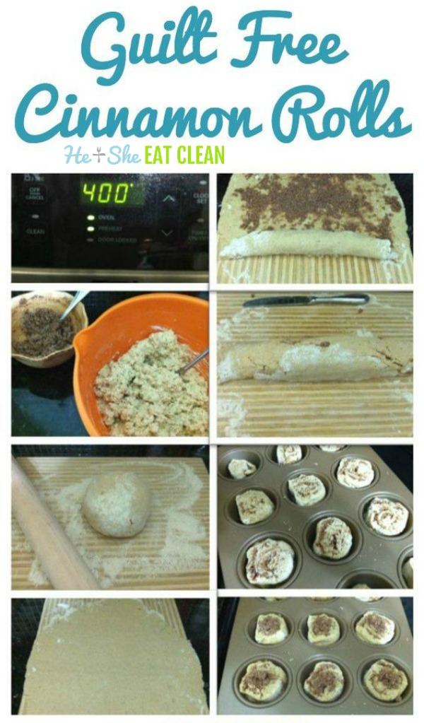 guilt free cinnamon rolls on a white plate collage of steps and ingredients