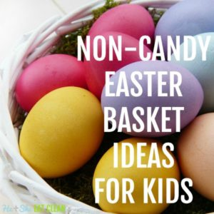 basket full of colored Easter eggs with text that reads non candy easter basket ideas for kids