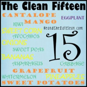 a list of the clean fifteen fruits & vegetables square image