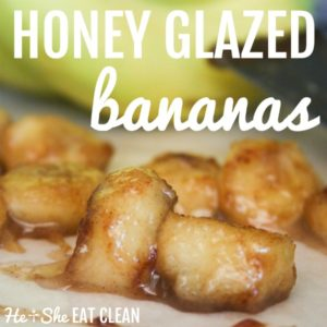honey glazed bananas on a white paper with bananas in the background square image
