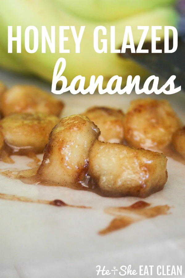 honey glazed bananas on a white paper with bananas in the background