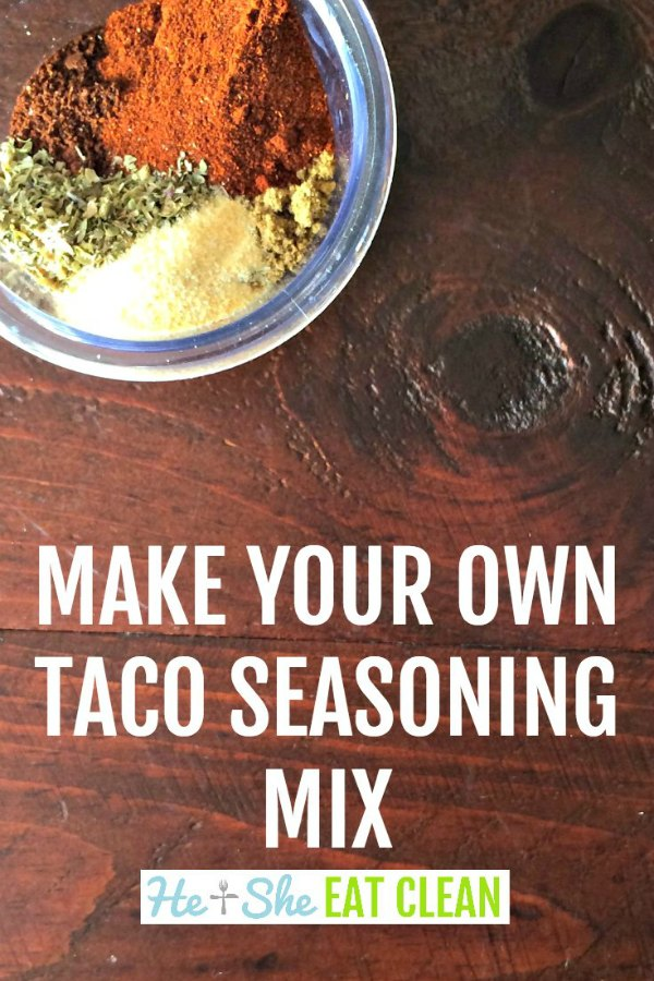 taco seasoning spices in a clear bowl with the text that reads make your own taco seasoning mix