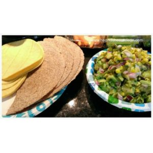 two paper plates, one with tortillas and one with guacamole