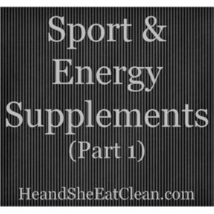 gray text that reads sport & energy supplements with a black background