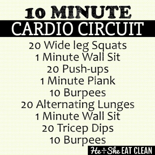 text reads 10 minute cardio circuit