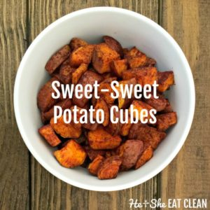 sweet potato cubes in a white bowl on a wooden table
