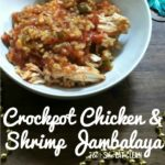 bowl of Crockpot Jambalaya Soup on a wooden table square image