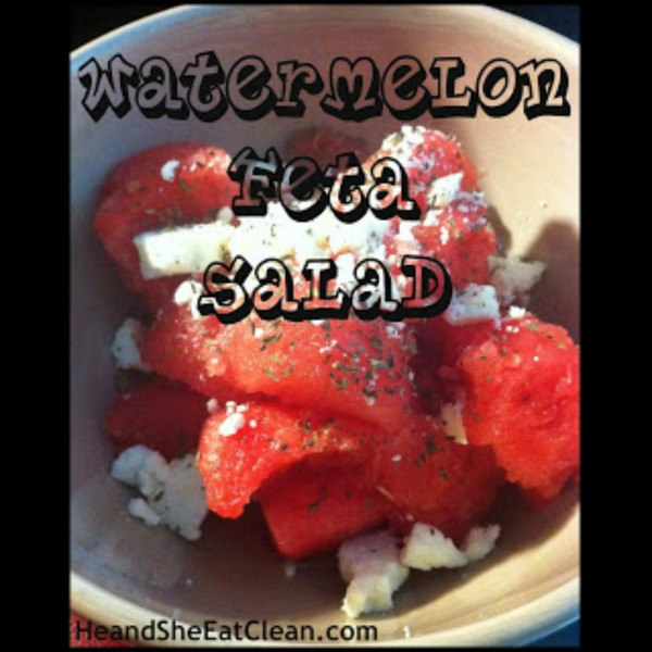 watermelon in a bowl with feta cheese on top
