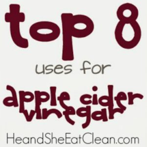 text reads top 8 uses for apple cider vinegar