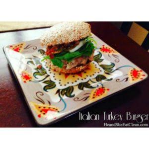 Italian Turkey Burger on a plate