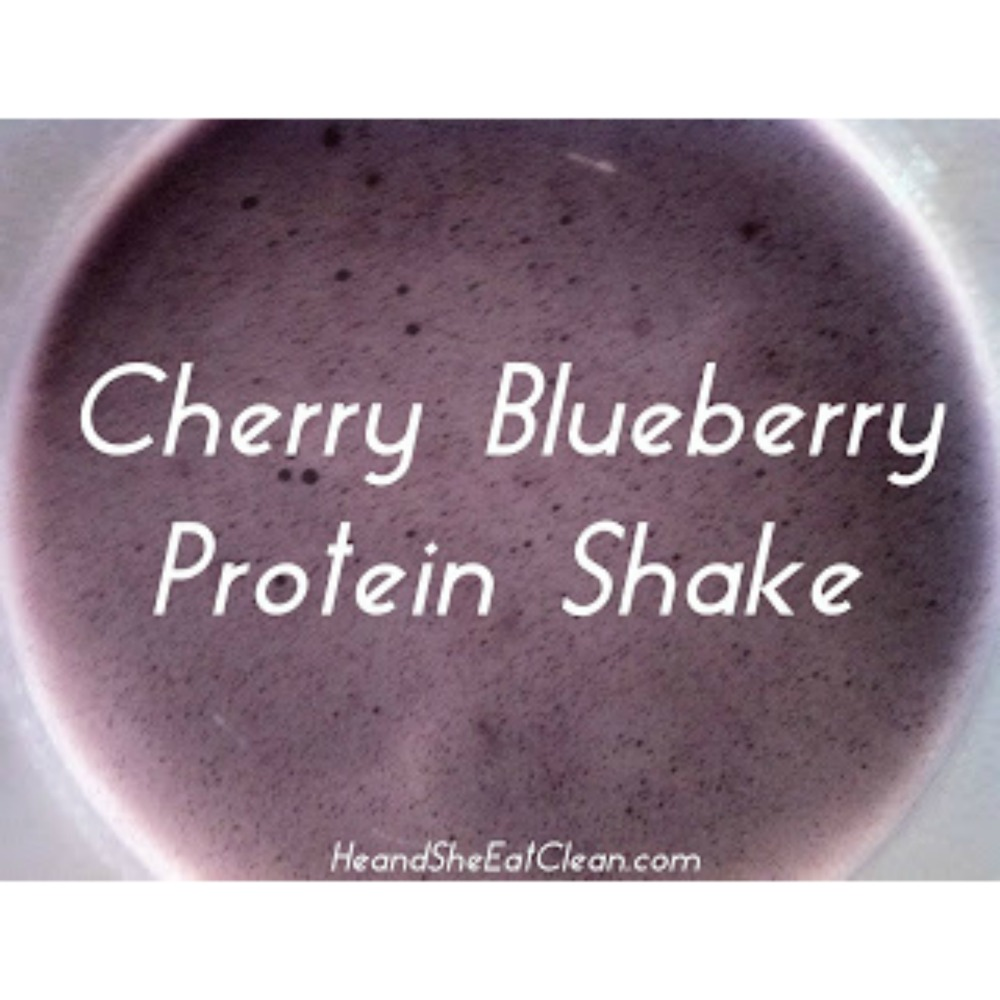 overhead image of cherry blueberry protein shake