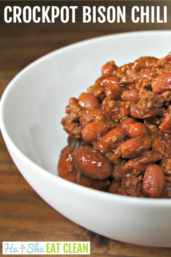 bison chili in a white bowl