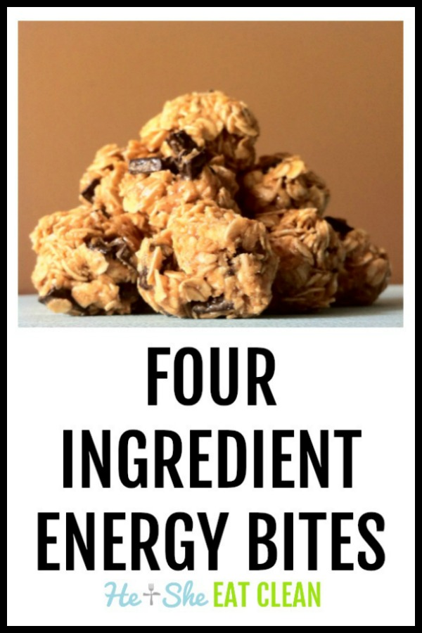 four ingredient energy bites stacked