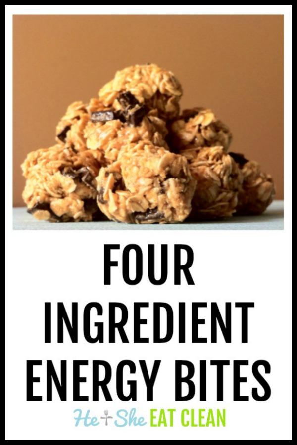 four ingredient energy bites stacked