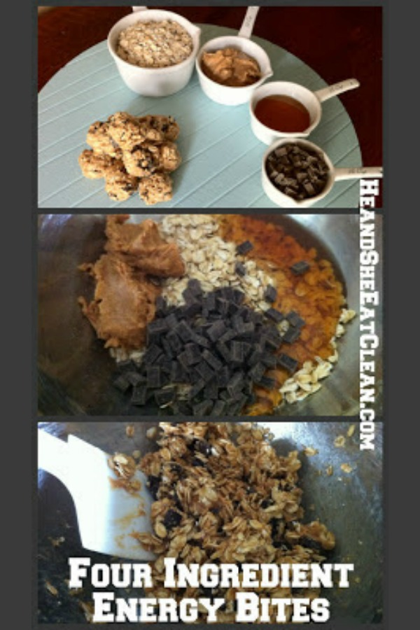 four ingredient energy bites stacked step by step collage