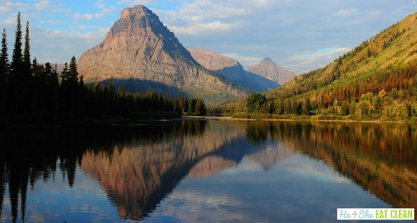 mountain with lake in front in Glacier National Park, Montana reflection