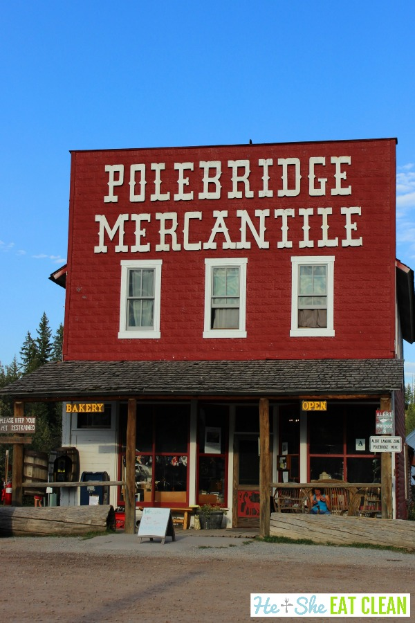 red building Polebridge Mercantile in Glacier National Park