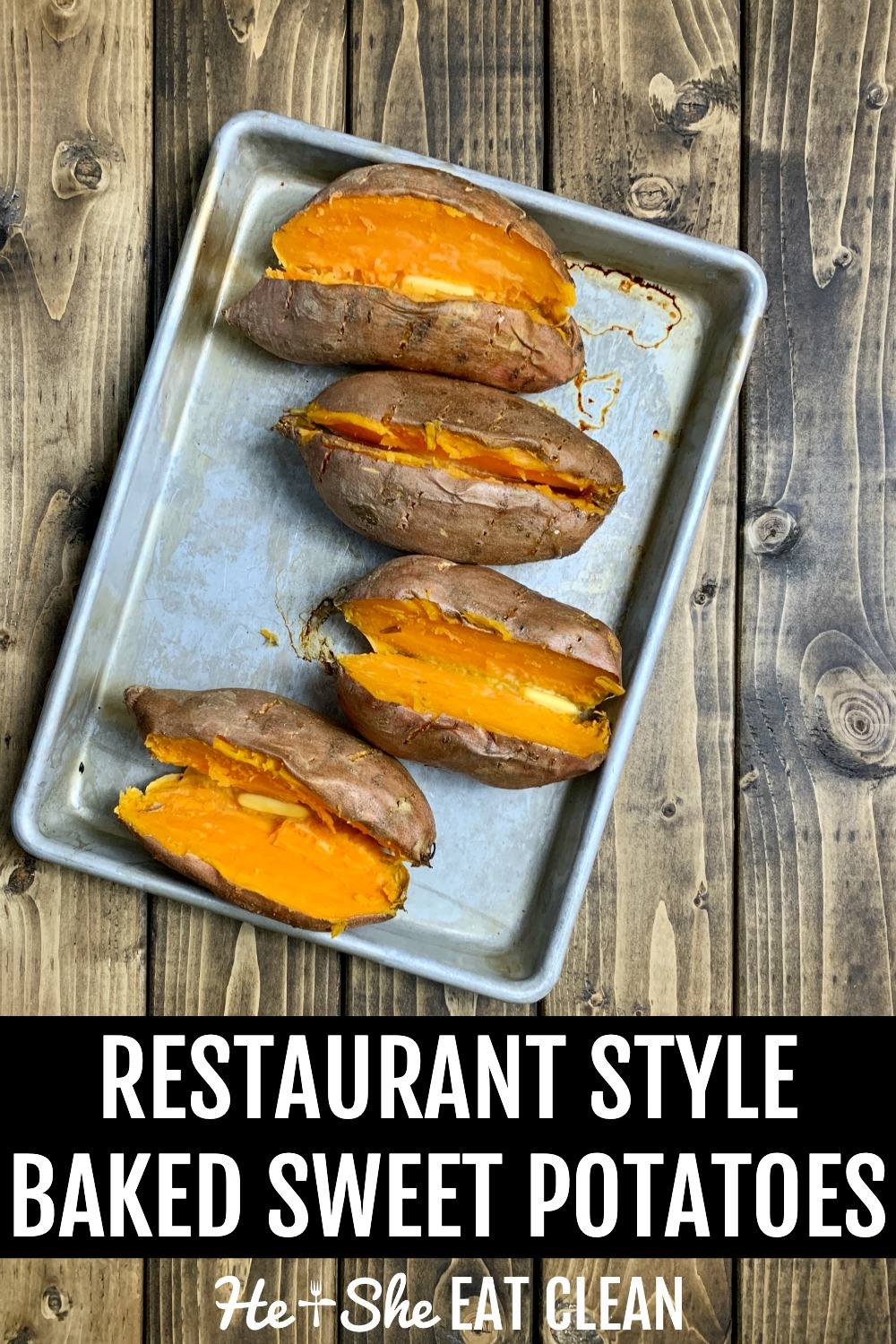 4 cut sweet potatoes on a cookie sheet with butter on top