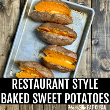 4 cut sweet potatoes on a cookie sheet with butter on top on a wooden table