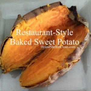 baked sweet potato on a beige plate with text that reads restaurant style baked sweet potato