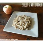 quinoa on a beige plate with an apple in the background - text reads sweet & nutty quinoa