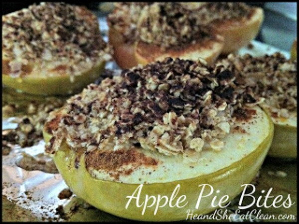 green apple topped with oats and cinnamon on aluminum foil