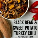 bowl of chili with sweet potatoes and black beans in a white bowl