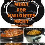 collage of crockpot photos with text that reads clean crockpot meals for Halloween night