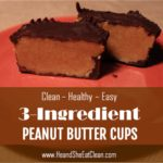 peanut butter cup cut in half on a red small plate square image