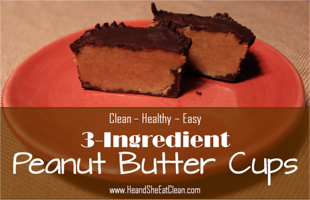 peanut butter cup cut in half on a red small plate
