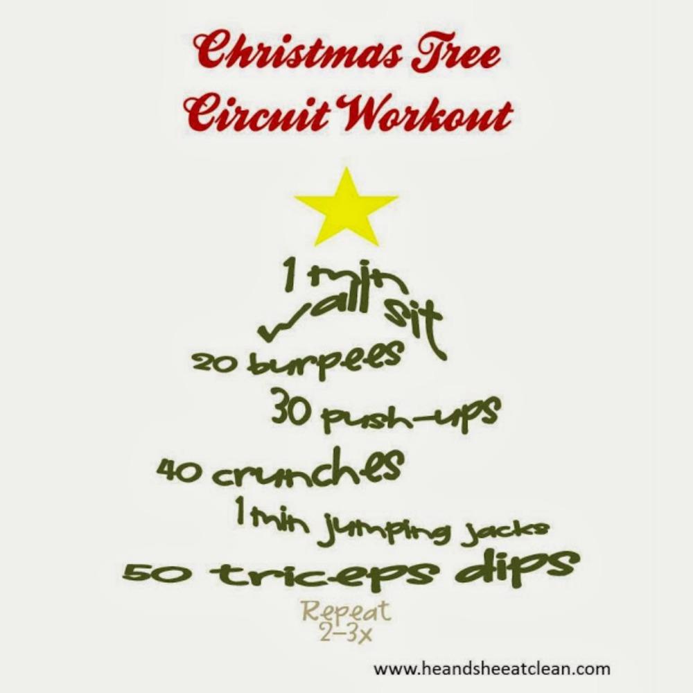 circuit workout shaped like a Christmas tree