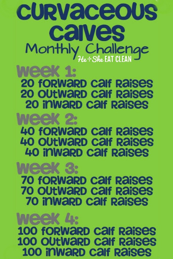 Curvaceous Calves One Month Fitness Challenge chart