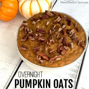 white bowl full of pumpkin oats with pecans on top on a white tabletop square image