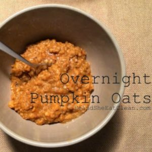 beige bowl of pumpkin oats with a spoon