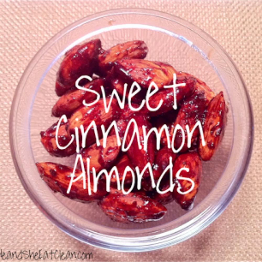 cinnamon almonds in a clear dish