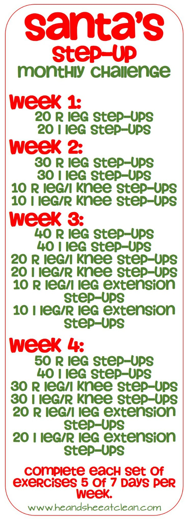 Santa's Step Up Challenge Fitness Workout