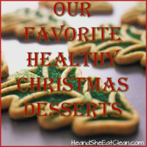 Christmas cookies on a tray with text that reads our favorite healthy Christmas cookies