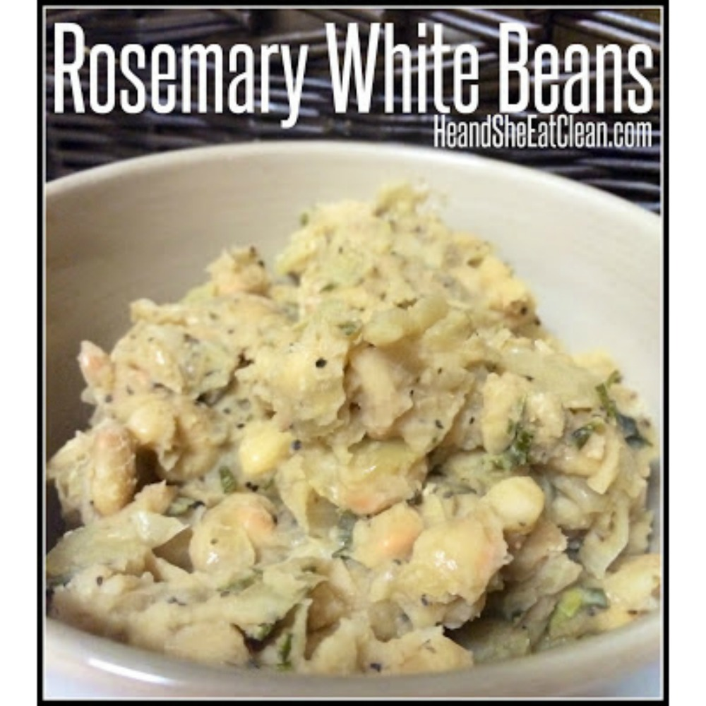 rosemary white beans in a white bowl