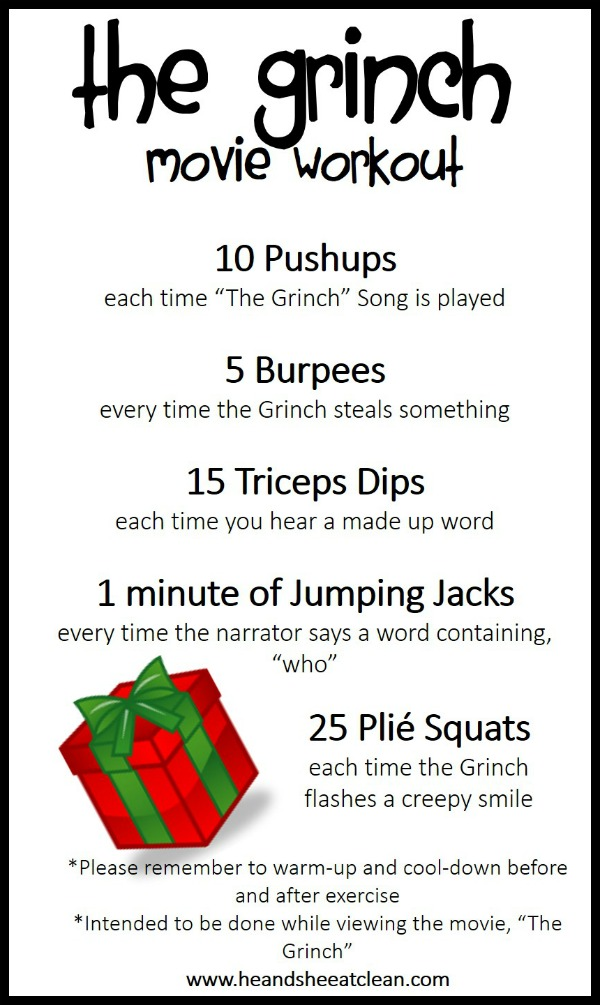 the Grinch Christmas workout