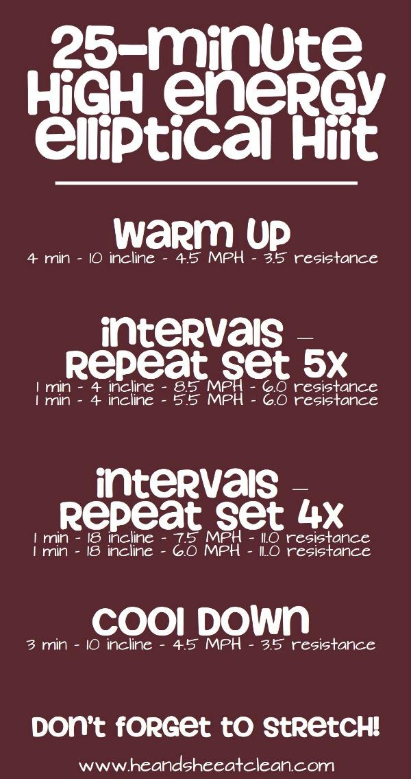 25 minute high energy elliptical cardio routine