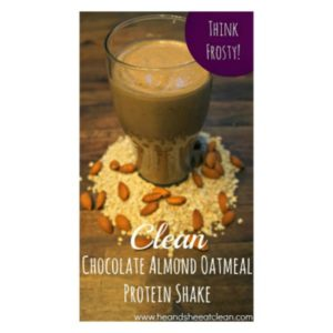 chocolate almond oatmeal protein shake square image