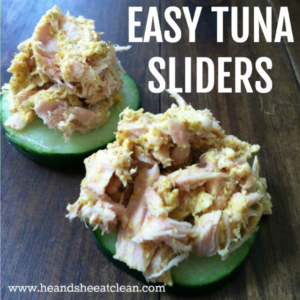 tuna and mustard on a cucumber with text that reads easy tuna sliders