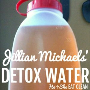 tea in a plastic container with text that reads Jillian Michaels' Detox Water square image