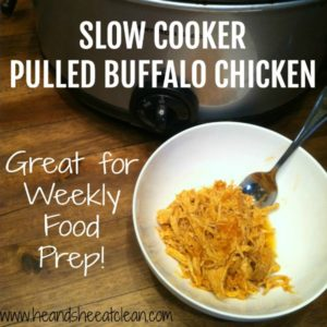 crockpot and buffalo chicken in a white bowl square
