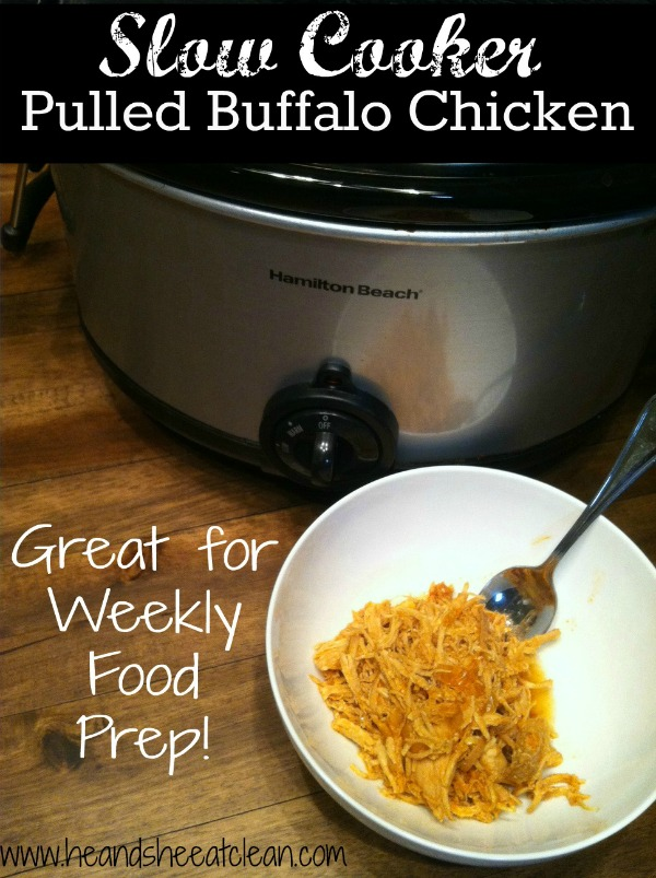 crockpot and buffalo chicken in a white bowl