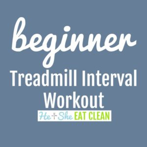 text reads beginner treadmill interval workout square image