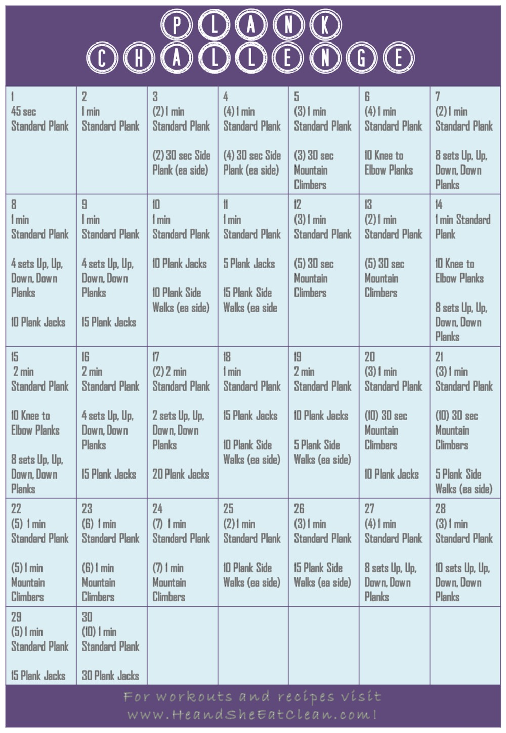 plank challenge calendar in purple and blue
