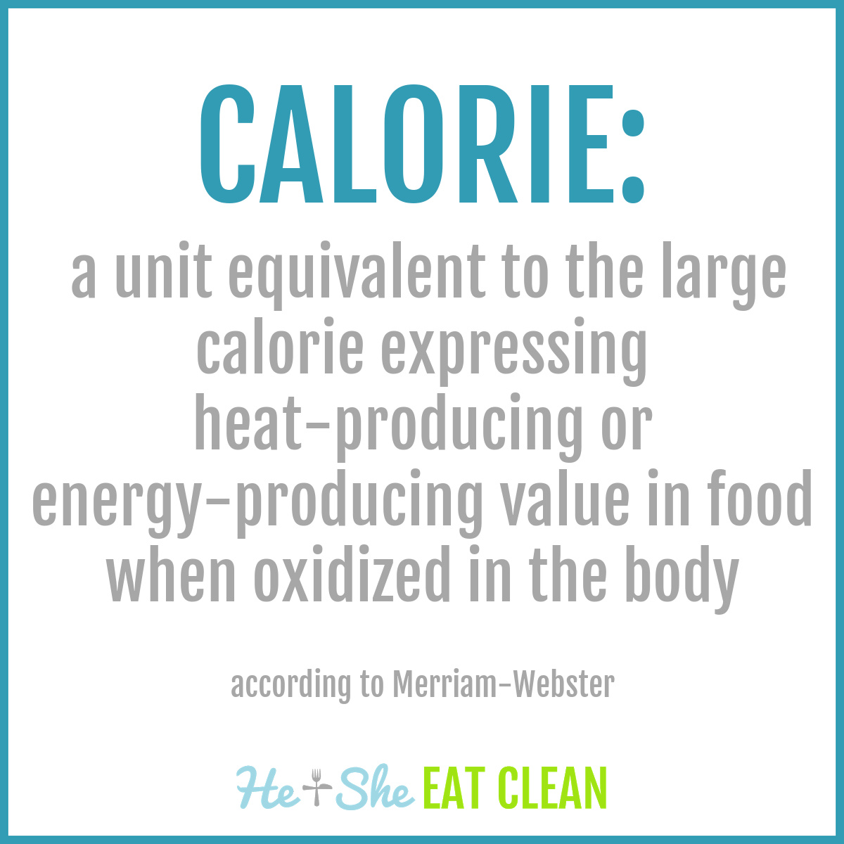 definition of a calorie: : a unit equivalent to the large calorie expressing heat-producing or energy-producing value in food when oxidized in the body