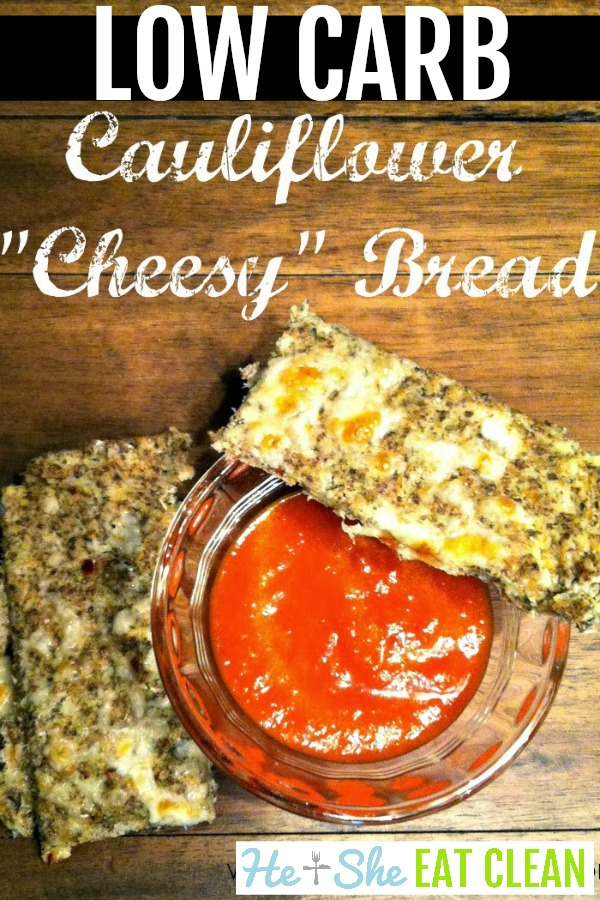 Low Carb Cauliflower Cheesy Bread with dipping sauce