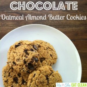 cookies on a white plate with text that reads chocolate oatmeal almond butter cookies square image